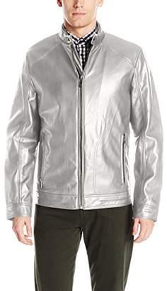 Calvin Klein Men's Smooth Faux Leather Moto Jacket