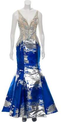 Alberto Makali Jewel Embellished Evening Dress w/ Tags Blue Jewel Embellished Evening Dress w/ Tags