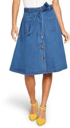 ModCloth Sash Belted A-Line Denim Skirt