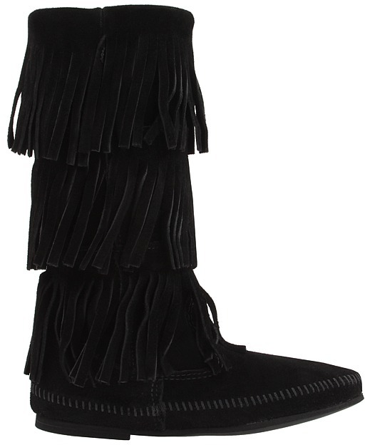 Minnetonka - Calf Hi 3-Layer Fringe Boot Women's Pull-on Boots 2