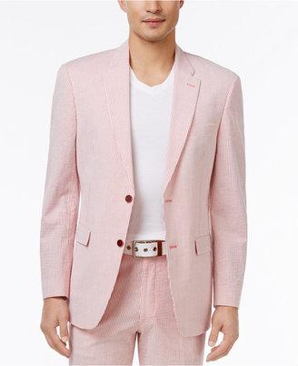 Tommy Hilfiger Men's Slim-Fit Stretch Performance Red/White Seersucker Suit Jacket $225 thestylecure.com