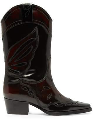 Ganni High Texas Leather Cowboy Boots - Womens - Black Burgundy