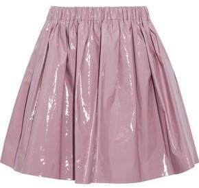 MSGM Pleated Coated Cotton-Blend Mini Skirt