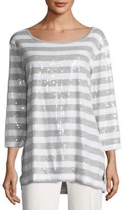 Joan Vass Petite Sequined Striped Tunic