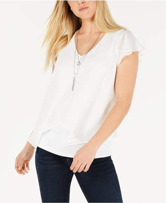 BCX Juniors' Flutter-Sleeve Necklace Top