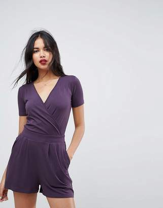 Asos Wrap Front Jersey Romper with Short Sleeve