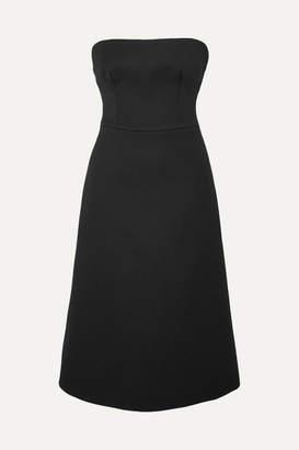 Prada Strapless Wool-gabardine Midi Dress - Black