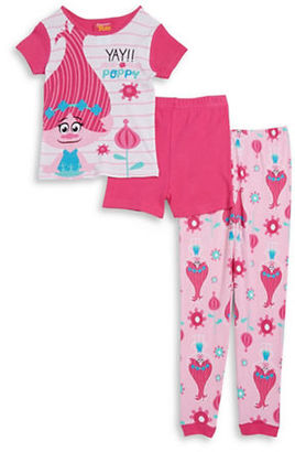 Ame Sleepwear Little Girls Trolls Pajama Tee, Shorts and Pants Set $42 thestylecure.com