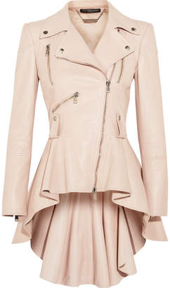 Alexander McQueen - Leather Peplum Biker Jacket - Blush