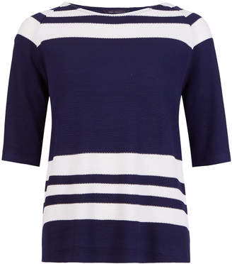 Marks and Spencer Striped Scoop Neck Half Sleeve Top