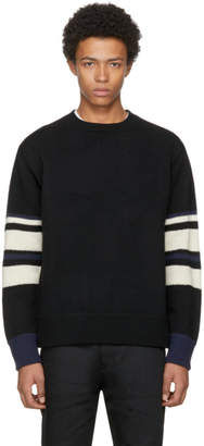 Junya Watanabe Black Wool Striped Sleeve Sweater