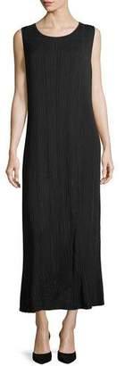 Misook Vertical Lines Faux-Wrap Knit Maxi Dress