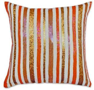 A1 Home Collections Orange White Cotton Flex 18-inch Sequin Throw Pillow