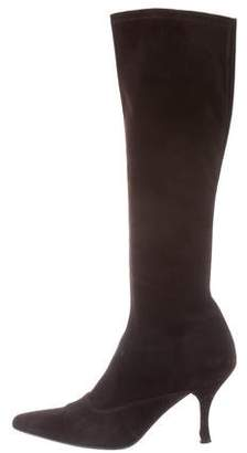 Stuart Weitzman Suede Pointed-Toe Boots