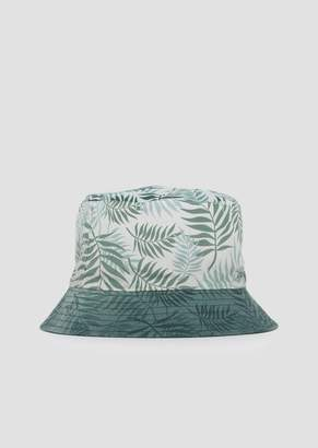 Emporio Armani Reversible Bucket Hat With Pattern And Solid Color