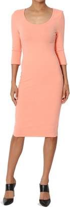 Ash TheMogan Junior's 3/4 Sleeve Scoop Neck Stretchy Cotton Midi Dress Coral M