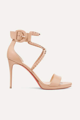 Christian Louboutin Choca Lux 100 Studded Leather Sandals - Neutral
