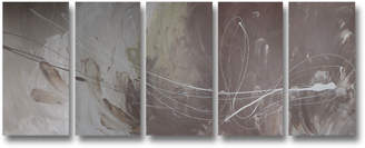 Decor Abstract Art 5 Piece Abstract Canvas Painting in Neutral Cream and Brown