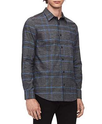 Calvin Klein Men's Light Plaid Long-Sleeve Button Down Shirt