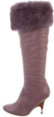 Giuseppe Zanotti Fur-Trimmed Knee-High Boots
