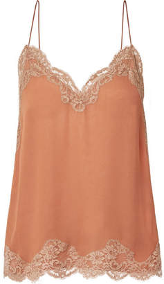Chloé Lace-trimmed Mousseline Camisole - Orange
