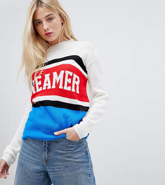 Daisy Street Jumper With Dreamer Design In Colour Block Knit