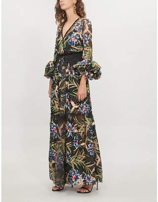 Diane von Furstenberg Floral-embroidered tulle maxi dress