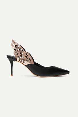 Sophia Webster Angelo Metallic And Smooth Leather Slingback Pumps - Black