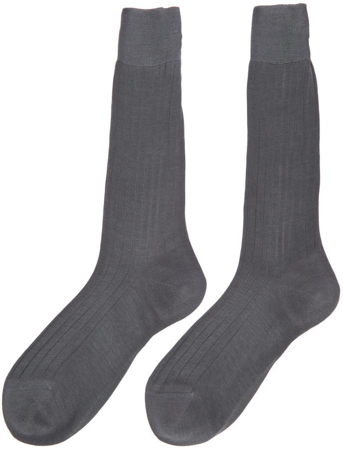 Thom Browne Grey Ribbed Socks 2