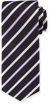 BOSS Lavender-Striped Silk Tie