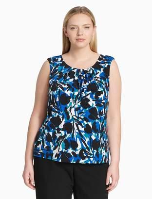 Calvin Klein plus size floral pleat neck sleeveless top