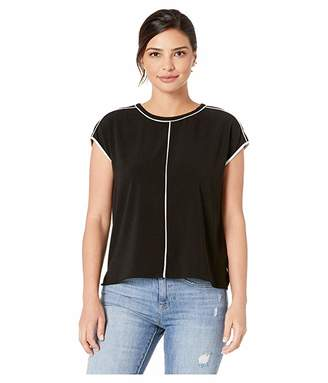Vince Camuto Extend Shoulder Contrast Pipe French Crepe Blouse