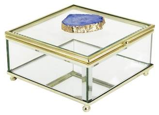 Jay Import Blue/Gold Agate Detail Glass Box