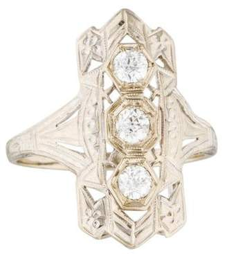 Ring 14K Diamond Art Deco Shield