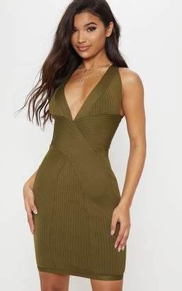 PrettyLittleThing Khaki Plunge Bandage Midi Dress