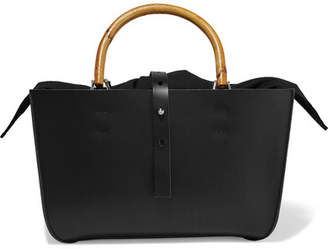 Muun Marian Leather And Cotton-canvas Tote - Black