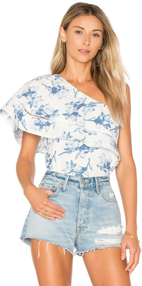 J.O.A. Flower Print One Shoulder Top $75 thestylecure.com
