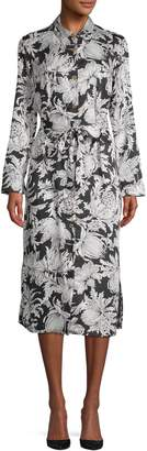 ABS by Allen Schwartz Collection Long Sleeve Paisley Midi Shirt Dress