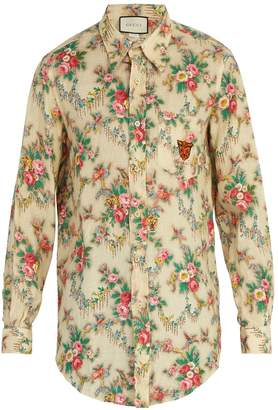 Gucci Tiger-embroidered floral-print linen shirt