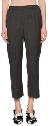 No.21 No. 21 Cropped Wool Beaded Straight-Leg Pants
