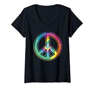 Womens Tie Dye Peace Sign Pastel Color Retro 60's 70's Hippie V-Neck T-Shirt