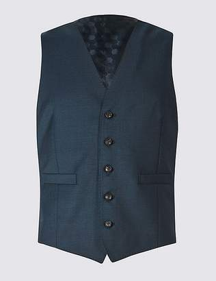 Marks and Spencer Navy Slim Fit Wool Waistcoat