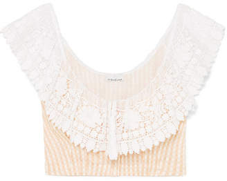 Miguelina Effie Crocheted Gingham Linen Top - Neutral
