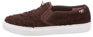 Tory Burch Floral Appliqué Slip-On Sneakers