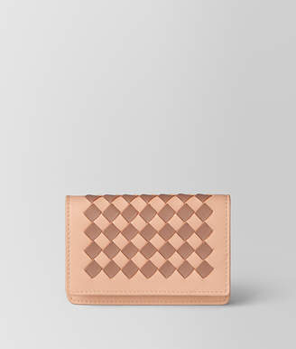 Bottega Veneta PEACH ROSE DAHLIA INTRECCIATO PALIO CARD CASE