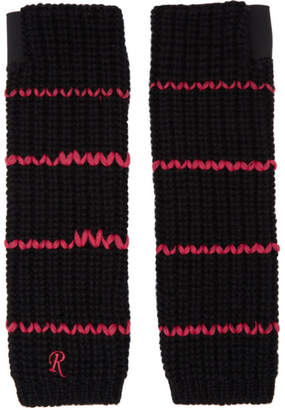 Raf Simons Black Long Striped Fingerless Gloves