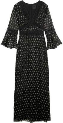 Anna Sui Lace-Trimmed Printed Silk-Blend Crepon Maxi Dress