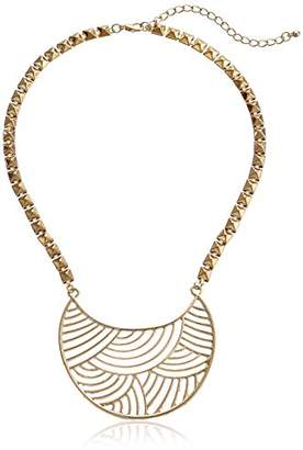 Jules Smith Designs Chunky Chain Detailed Crescent Bib Pendant Necklace