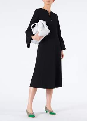 Tibi Structured Crepe V-Neck Ruffle Sleeve Midi Dress