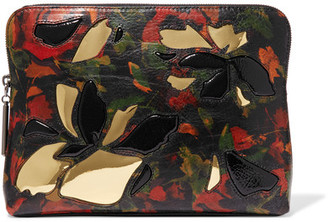 3.1 Phillip Lim - 31 Minute Pvc-trimmed Printed Textured-leather Pouch - Black $395 thestylecure.com